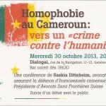 Homophobie au cameroun, vers «un crime contre l'Humanité»?      Conférence – Débat, le mercredi 30 octobre à Dialogai